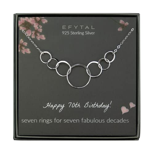 EFYTAL 70th Birthday Gifts for Women, Sterling Silver Seven Circle Necklace for Her, 7 Decade Jewelry 70 Years Old