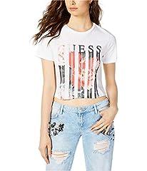 Guess Camiseta Corta Mujer con Logotipo y Rosas