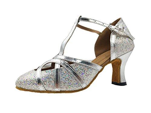 Honeystore Neuheiten Frauen's Funkelnde Glitzer Heels Sandalen Latin mit Schnalle Tanzschuhe Silber 43 CN