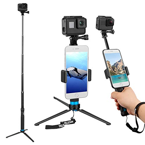 TELESIN 35.5' Selfie Stick Monopod for GoPro, Selfie Pole with Strong Tripod Mount Adapter, Cellphone and Digital Compacts for Hero 8 7 6 5 4 3, AKASO, Campark, APEMAN, DJI OSMO Action Cameras