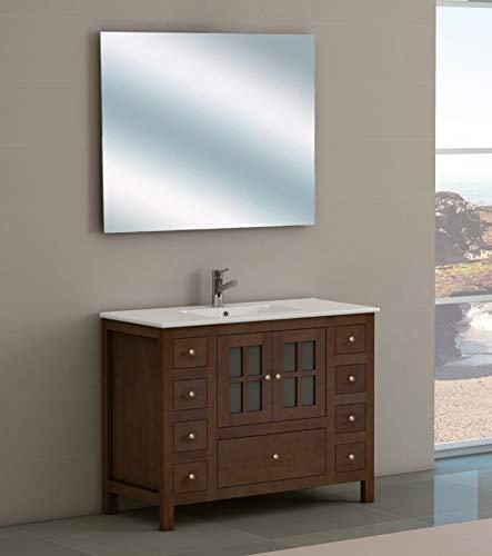 Juego de Mueble de Baño Modelo GRAZALEMA, Conjunto formado por Mueble de Baño Estilo Rústico Color Madera Nogal, Lavabo de Porcelana y Espejo a Juego. Espejo sin marco. Ancho 100 cm