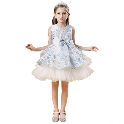 IMEKIS Blumenmädchen Prinzessin Kleid Jacquard Bowknot Tutu Ärmelloses Formal Abendkleid Partykleid Hochzeits Geburtstag Festzug Ballkleid Blau 12-13 Jahre