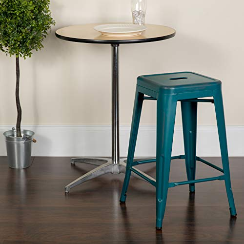 Flash Furniture Commercial Grade 24' High Backless Distressed Kelly Blue-Teal Metal Indoor-Outdoor Counter Height Stool
