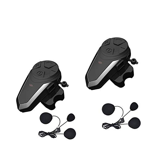 XYBH Xybhjxb 1 intercomunicador de Casco Bluetooth con FM, Auriculares a Prueba de Agua 1000 m, Motocicleta Bluetooth Casco Intercomunicador (Color : 2pcs for Full Helmet)