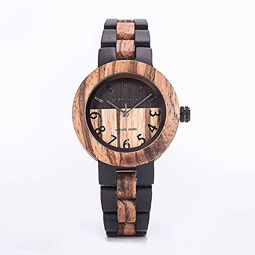 yuyan Reloj de Las señoras Reloj de Cuarzo de Madera Natural Moda Negro Movimiento Japonés Reloj Retro Combinación de Tecnología y Naturaleza Salud