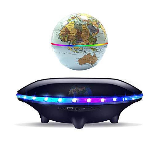 4 Pulgadas Magnetico Levitacion con Luces Color LED,Negro Bola Mundi para La Enseñanza de La Educación del Aprendizaje