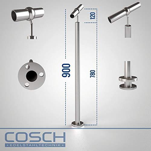 Treppenpfosten Aufmontage Kugelring 900 mm Treppe flexibel QSH keine