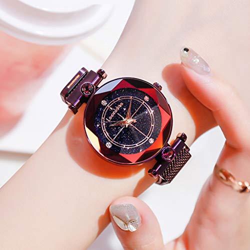 Rventric Star Sky Quartz Watch Luminoso, Reloj De Cuarzo De Malla Magnética Resistente Al Agua para El Día De San Valentín/Día De La Madre/Ceremonia De Graduación,Purple