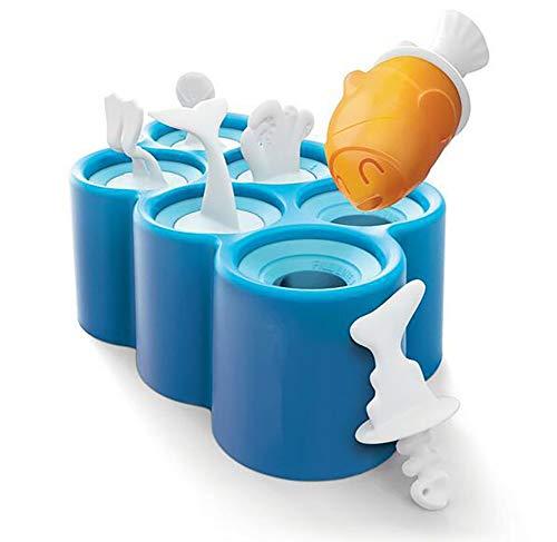Los Moldes del Polo De Hielo Helado Moldes De Silicona Pescado Popsicle del Molde 6 Diferentes Peces De Hielo Pop Fabricante Libre De Bpa del Polo Hacer Azul
