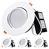 TORCHSTAR 13.5W 6 Inch Gimbal LED Recessed Light with Junction Box Air Tight, CRI90+ 5000K, Dimmable Directional Ceiling Light, 800lm, ETL, Energy Star, 5-Year Warranty, Pack of 4