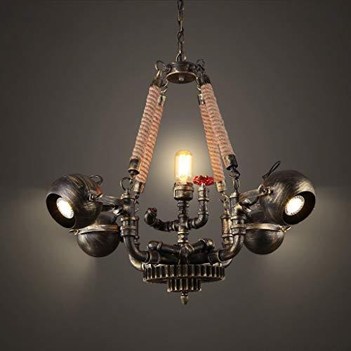 Candelabro de Estilo Industrial Nostalgia Loft Candelabro de Cuerda de Cáñamo Lámparas de Techo de Hierro Forjado 5 Cabezas, C-L