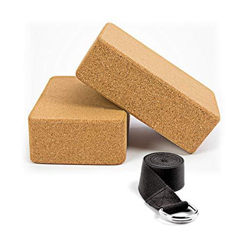 WayEee Bloques de Yoga Corcho Natural 2 Piezas Ecológico de Alta Densidad Centímetros Ladrillo Yoga Block Cork para Pilates y Ejercicios de Yoga