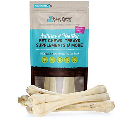 Raw Paws 12 inch Compressed Rawhide Bones for Large Dogs, 2-ct - Packed in USA, Free-Range Compressed Rawhides for Dogs, Grass-Fed Pressed Rawhide Bones, Safe Rawhide Bones for Dogs, Dog Rawhide Chews