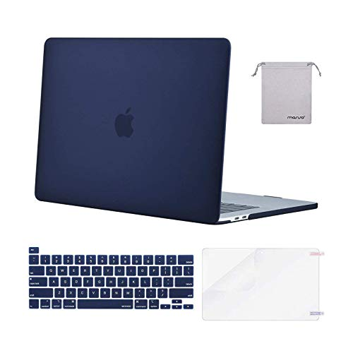 MOSISO Compatible with MacBook Pro 16 inch Case 2020 2019 Release A2141 with Touch Bar Touch ID, Protective Plastic Hard Shell Case & Keyboard Cover & Screen Protector & Storage Bag, Navy Blue