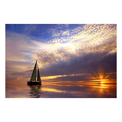 EBONP Leinwand Gemälde Leinwanddruck Leinwand druckt Bilder Home Decor 1 Stück Segelboot in ruhiger See bei Sonnenuntergang Malerei Wohnzimmer Segelschiff Poster Wandkunst Rahmen-28x40inch
