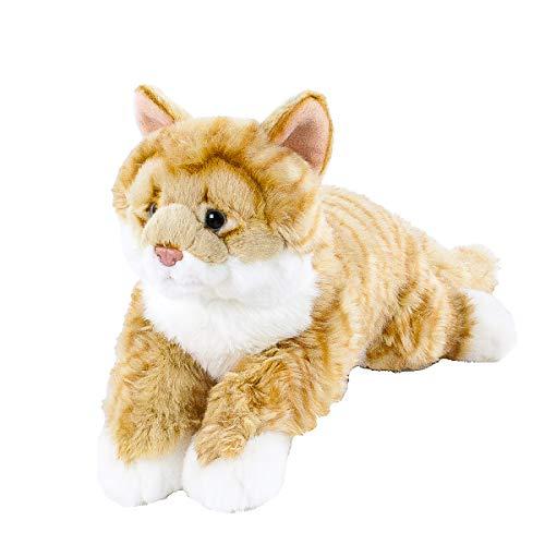 Teddys Rothenburg Uni-Toys Kuscheltier Katze liegend rot/weiß getigert 40 cm Plüschkatze by