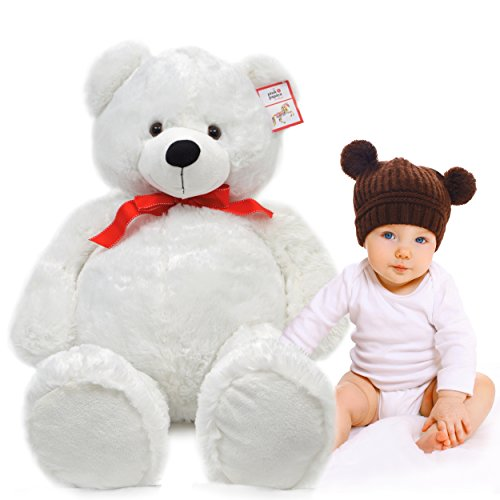 Pink Papaya Riesen-Teddy Karlchen, 100cm XXL Plüschbär in Polar-weiß – EIN XXL Teddybär zum Liebhaben Toys
