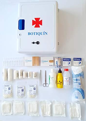 Armario botiquin para pared primeros auxilios con llave Tamaño:40 cms x 30 cms x 16 cms equipado con varios articulos imprescindibles para realizar primeras curas en caso de emergencia