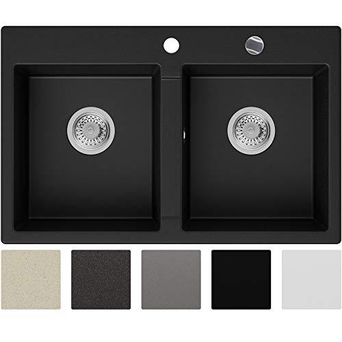 Granitspüle Schwarz 78 x 50 cm, Spülbecken + Siphon Automatisch, Küchenspüle ab 80er Unterschrank in 5 Farben mit Siphon und Antibakterielle Varianten, Einbauspüle von Primagran