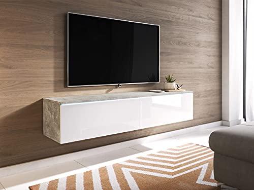 Mueble de TV LOWBOARD D 140 cm,, Mueble de TV Colgante, Blanco, hormigón, Mueble de salón Moderno (Hormigón / Blanco Brillo)