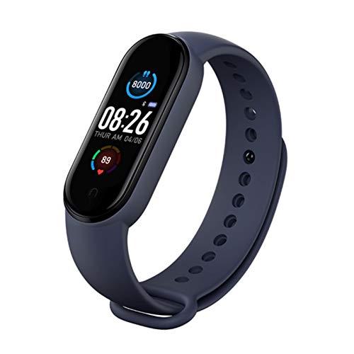 Twbbt - Pulsera inteligente M5 (morado/negro/rojo/rosa/azul), reloj con detector de calorías y distancia, frecuencia cardíaca, Bluetooth, sueño, deporte, natación IP67, hombres y mujeres