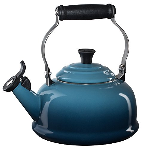 Le Creuset of America Le Creuset Q3101-6M Enamel-on-Steel Whistling Teakettle, 1-4/5-Quart, Marine,...