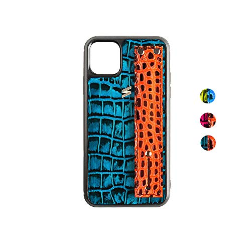 Suritt ® Funda para iPhone con Correa de Piel con Print de Cocodrilo Benny. (iPhone 11 Pro, Blue/Orange)