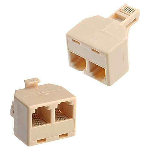 Optisoft RJ11 Male to 2 Port Female Telephone line Splitter Connector (Set of 2 Pcs)