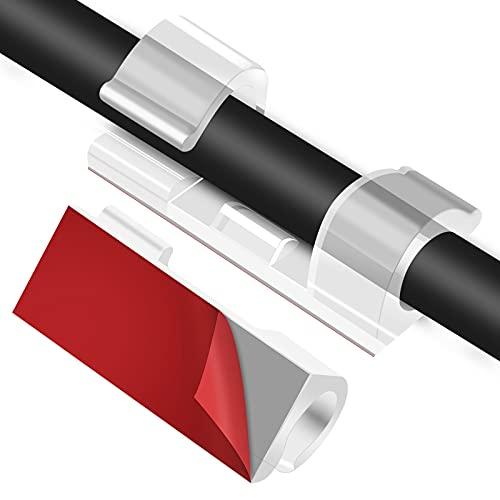 URAQT Clip Fermacavi da Parete per Cavi Elettrici, 30 Pezzi Graffette con Adesivo a Lunga Durata, Sistema di Gestione e Organizzazione dei Cavi TV PC Laptop Casa Ufficio (Trasparente)