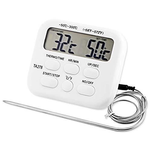 Termometro digitale da cucina a lettura istantanea per barbecue cottura cottura al forno - Termometro digitale portatile per carne, timer da cucina con trasmissione vocale con sonda lunga