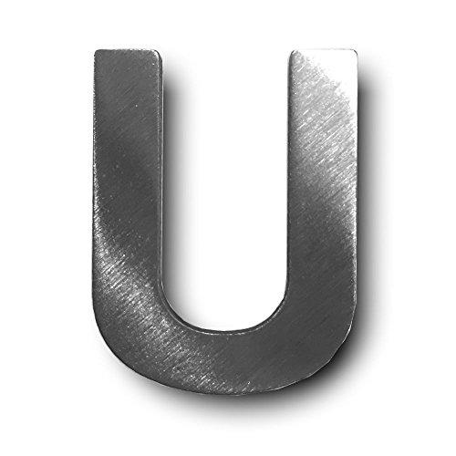 """Metall-Buchstabe """"U"""" aus gebürstetem Edelstahl – Höhe 4cm – Hausnummer, Zimmerbeschriftung, Bürobeschriftung, Türsymbol, Wandbeschilderung – rostfrei und selbstklebend ohne bohren"""