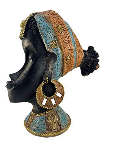 Busto, Escultura Decorativa de Mujer Africana con Detalles Brillantes - Multicolor - 25x23 cm
