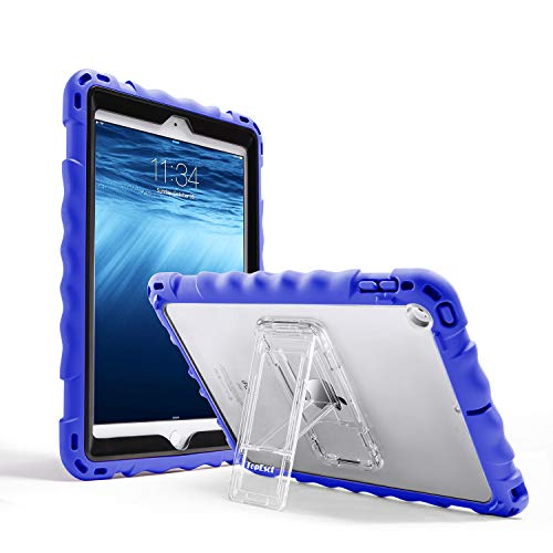 IPad 6th Generation Case, TopEsct Premium Full-Body Silicone Shockproof Protective Case for IPad 5th Generation Cover with Stand and a Adjustable Strap(Blue)