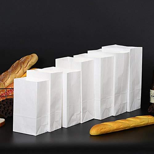 Piore 20 stuks bruin kraftpapier geschenkzakjes verpakking koekjes voedsel brood koekjes noten snack bakken, wit, 24x13x8cm