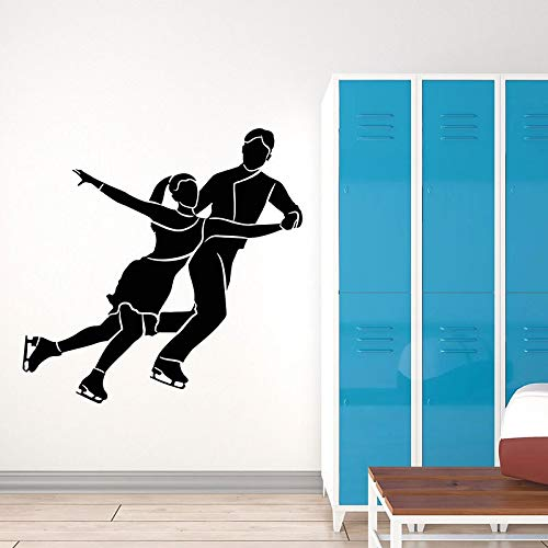 Patinaje artístico pared calcomanía pareja bailarina deportes tema olímpico vinilo ventana pegatina pista de hielo estadio Interior arte decorativo