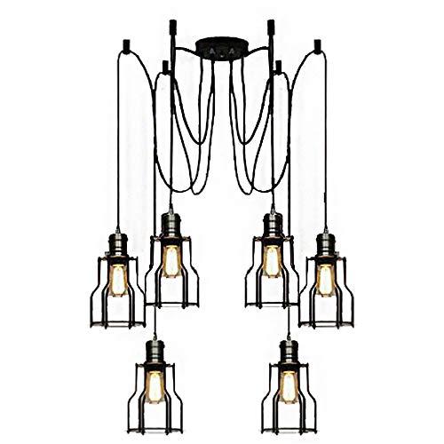 YLCJ ijzeren regelaar in vintage-stijl, polyurethaan-stijl, voor op- en afdalen, plafondlamp, Island Standard, hanglamp, lampenkap, zwart mat [energie-efficiëntieklasse A++]