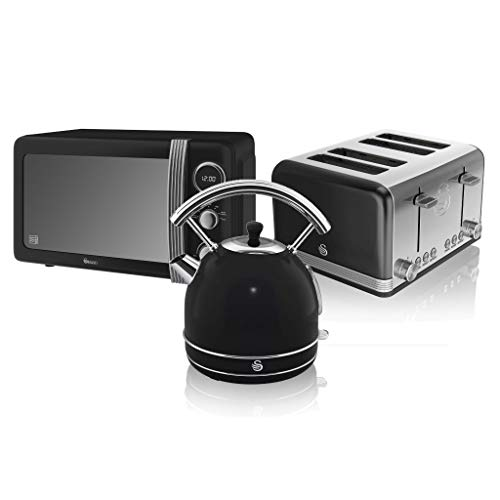 Swan, Retro Kitchen Kettle and Toaster Set, 1.8L Dome Kettle, 4 Slice Toaster, (Black)
