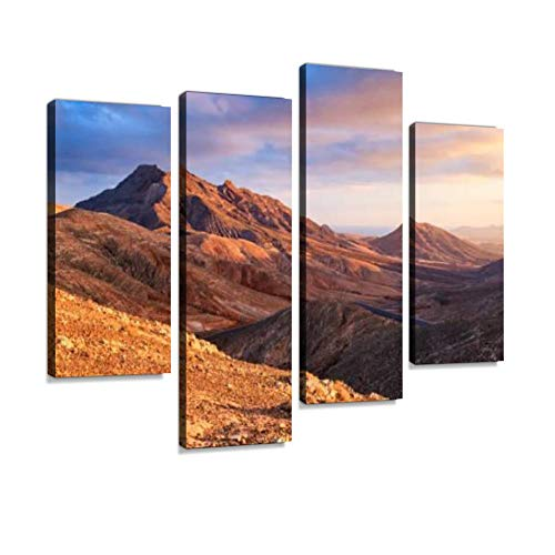 Sunset Over Desert Landscape of Fuerteventura, Canary Islands Canvas Wall Art Hanging Paintings Modern Artwork Abstract Picture Prints Home Decoration Gift Unique Designed Framed 4 Panel
