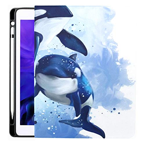 Ipad Pro 12.9 Case 2020 & 2018 with Pencil Holder Two Killer Whales Ocean Watercolor Painting Smart Cover Ipad Case, Supports 2nd Gen Pencil Charging,case for 2020 Ipad Pro 12.9 Cover with Auto Sleep