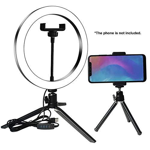 Galapara DC5V 7W Anillo de Luz LED, Ring Light Regulable para Fotografía Aro de Luz con Trípode y Soporte para Teléfono para Maquillaje, Selfie, Youtube, Transmisión en Vivo Grabación de vídeo Vlog