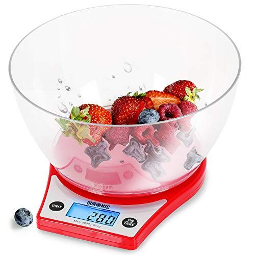 Duronic KS6000 RD Báscula de cocina digital de 14 cm diametro – Pantalla LDC con iluminación en azul – Peso máximo 5 kg – Bol de plástico 1.5l – Función tara – Mide en gr, lb, oz y ml - Color rojo