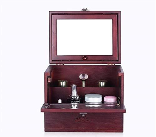 Hölzerne Prinzessin Kosmetikkasten Großraum Europäische Retro-geschnitzte Bring-Tabellen-Sets von Kosmetikaufbewahrungsboxen, Rotwein