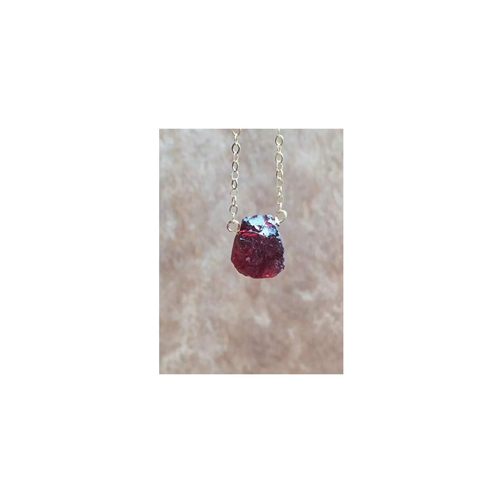 Dainty Raw Garnet Gemstone January Birthstone Necklace Gold
