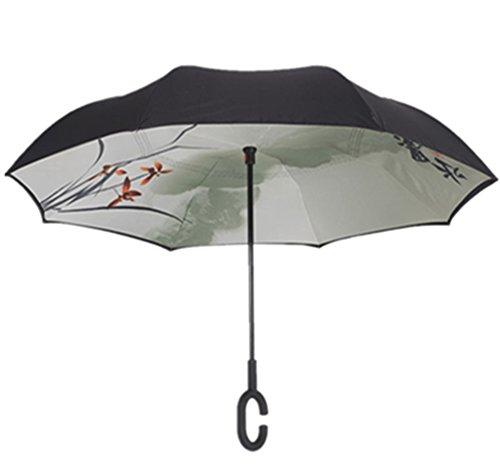 Paraguas invertido de doble capa independiente que se mantiene en pie por s&iacute solo paraguas de plegado invertido con mango en forma de C para mantener las manos libres mejor para viajar
