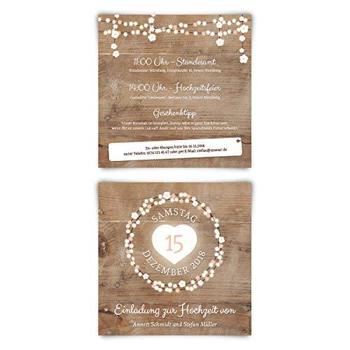 30 x Hochzeitseinladungen Einladungen zur Hochzeit individuell Text Gestaltung - Holz Lichtgirlande