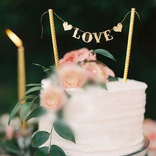 """Astra Gourmet 2-Pack """"Love"""" Cake Banner Bunting Wedding Birthday Party Cake Decorations Flag, Cake Decorations Cupcake Topper"""