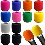 Custodia in Microfibra da 12 Pezzi,Multicolore Spugna Antivento per Microfono,Coperchio del Microfono Colorato Copertura,Microfono Antivento con Grande Microfono,per KTV Stage Performance 10 Colori