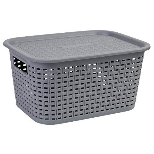axentia Cesta con Tapa Efecto Mimbre 7 L, Caja Organizadora Apilable de Plástico, Cesta de Almacenaje Multiusos con Tapa, aprox. 29,5 x 15 x 21,5 cm, Gris