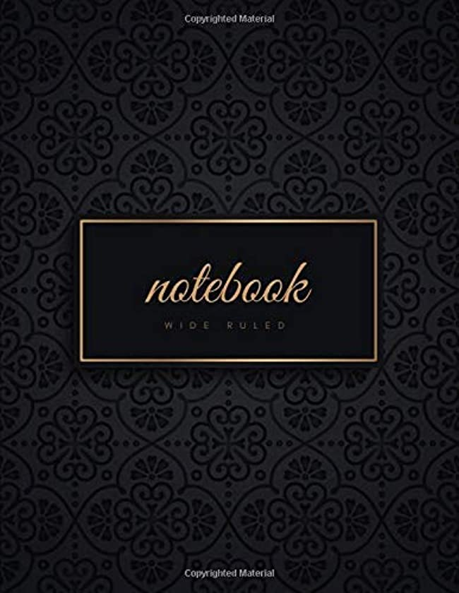 Wide Ruled Notebook: Gold & Black Luxury Soft Cover | Large (8.5 x 11 inches) Letter Size | 120 pages | Lined Glam Notes (no margins) [並行輸入品]