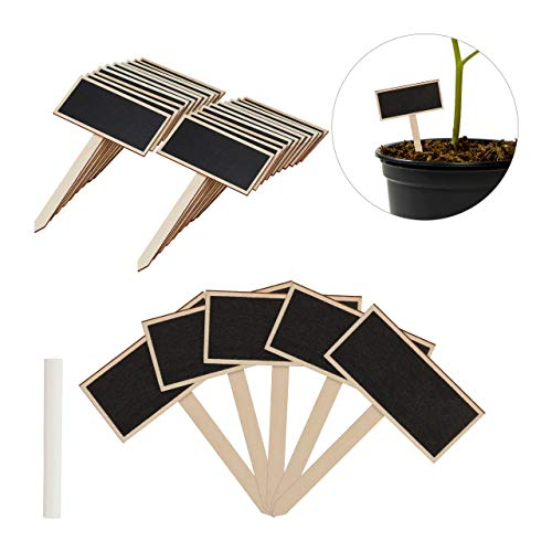 Relaxdays Pflanzenstecker Tafel, 24er Set, zum Beschriften, Kräutergarten, HxB 14x9 cm, Holz Kräuterschilder, natur